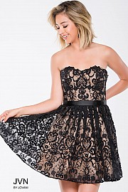 Black Nude Lace Strapless Fit and Flare Short Dress JVN41424