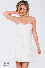 White Fit and Flare Strapless Short Dress JVN41424