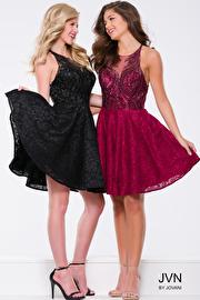 Black Embellished Fit and Flare Backless Short Dress JVN41426