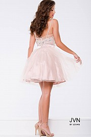 Blush Embellished Fit and Flare Short Dress JVN41497