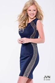 Navy Form Fitting Knee Length Sleeveless  Dress JVN41538