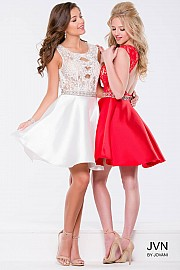 Red Lace Fit and Flare Sleeveless Short Dress JVN41672