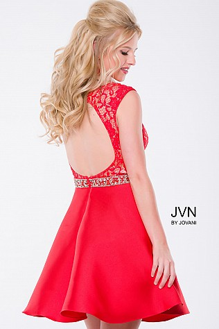 White Lace Fit and Flare Short Dress JVN41672