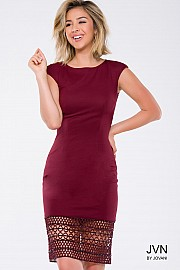 Wine Jersey Knee Length Cap Sleeve Dress JVN41735