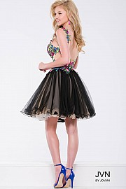 Multi Color Floral Fit and Flare Short Dress JVN42330