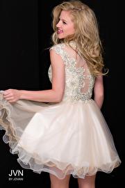 Light Gold Embellished Fit and Flare Cap Sleeve Short Dress JVN42425