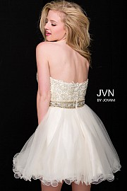 Gold Embellished Fit and Flare Strapless Short Dress JVN42426