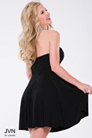 Black Mesh High Beaded Neck Short Dress JVN42589