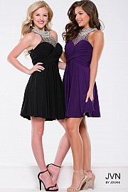 Purple Mesh High Neck Dress JVN42589