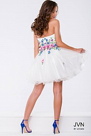 White Floral Fit and Flare Strapless Short Dress JVN42612
