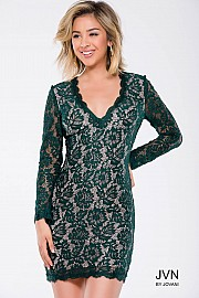 Green Nude Long Sleeve Lace Fitted Short Dress JVN42635