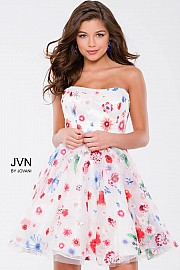 Multi Floral Fit and Flare Short Dress JVN42649