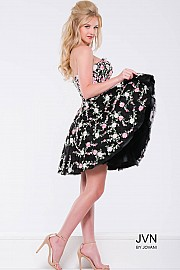 Black Floral Fit and Flare Strapless Short Dress JVN45269