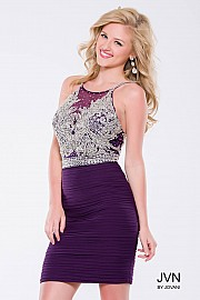 Purple Fitted Beaded Bodice Short Dress JVN45270