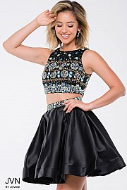 Black Embellished Two-Piece Satin Short Dress JVN45577
