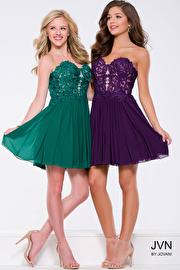 Green Strapless Embellished Fit and Flare Mesh Short Dress JVN47312
