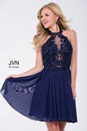 Burgundy Halter Neck Embellished Mesh Short Dress JVN47314