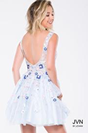 Blue Floral Apllique Fit and Flare Short Dress JVN47793