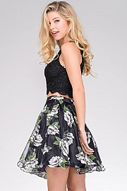 Black Print Floral Fit and Flare Dress JVN47032