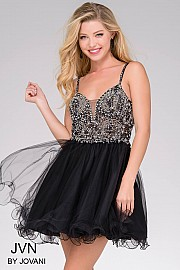 Black Sleeveless Fit and Flare Tulle Dress JVN47550