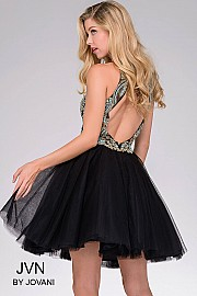 Black Embroidered Open Back Dress JVN47971