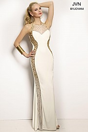 Ivory Sheer Neckline Fitted Dress JVN20452