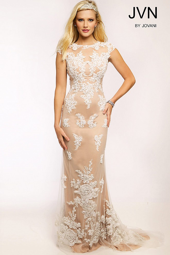 White Lace Applique Prom Dress JVN20471