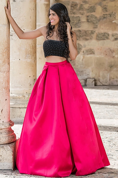 Fuchsia Two Piece Prom dress with Embellished Top and A Line Skirt 22897