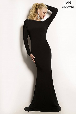 Black Long Sleeve Backless Dress JVN23098