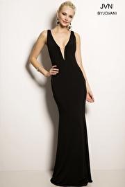 Black Sleeveless Jersey Dress JVN23304