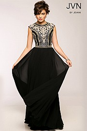 Black Chiffon Long Bridesmaid Dress JVN24413