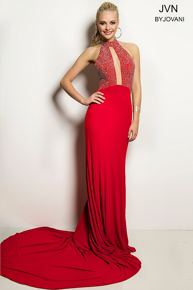 Red Halter Jersey Prom Dress JVN24844