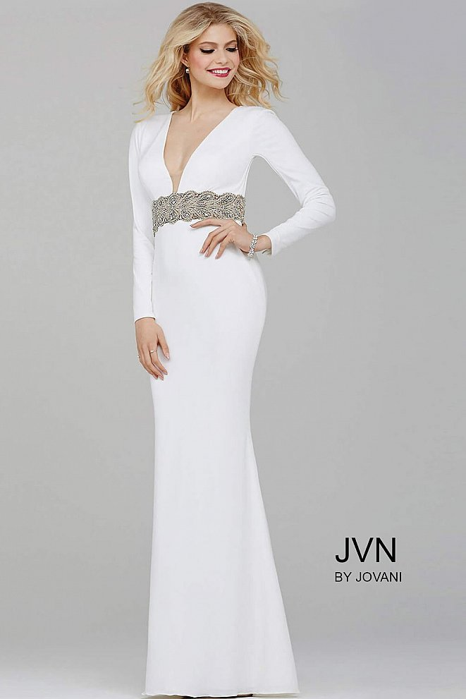 Off-White Long Sleeve Fitted Jersey Dress JVN31059