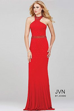 Red Fitted Halter Neck Jersey Prom Dress JVN33144