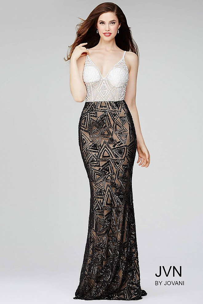 White/Black Beaded Prom Dress JVN33485