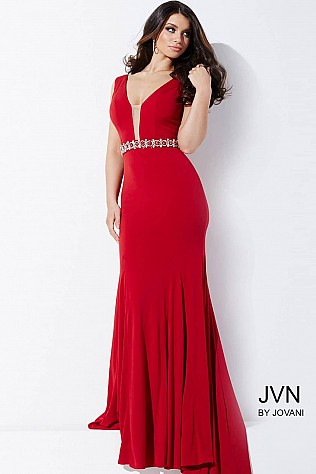 Red Sleeveless Jersey Prom Dress JVN36020