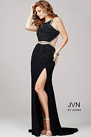 Black Cutout Embellished Prom Dress JVN36750