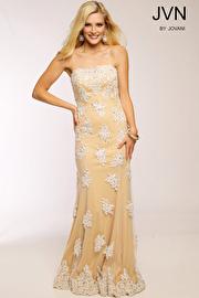 Nude Strapless Column Prom Dress JVN92589