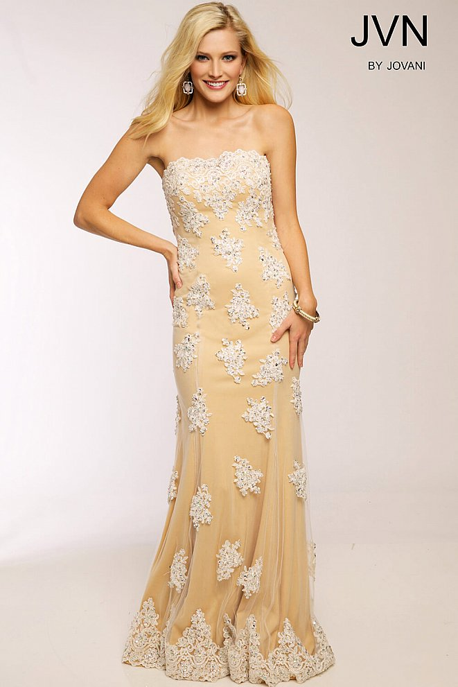 Nude Strapless Column Prom Dress JVN92589