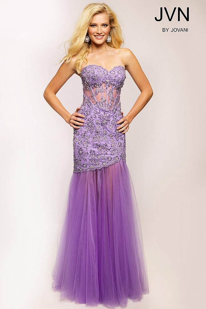 Purple Trumpet Prom Dress JVN93583