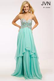 Mint Tiered Chiffon Strapless Dress JVN93709
