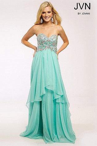 Mint Tiered Chiffon Strapless Dress JVN93709