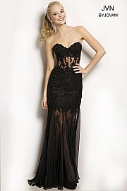 Black Strapless Prom Dress JVN98603