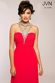 Jvn Red Halter Empire Waist Dress JVN98641