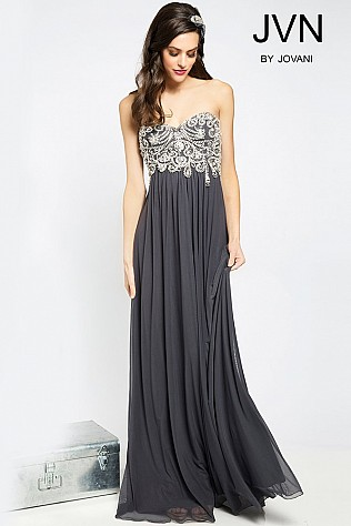 Grey Crystal Embellished Prom Dress JVN20365