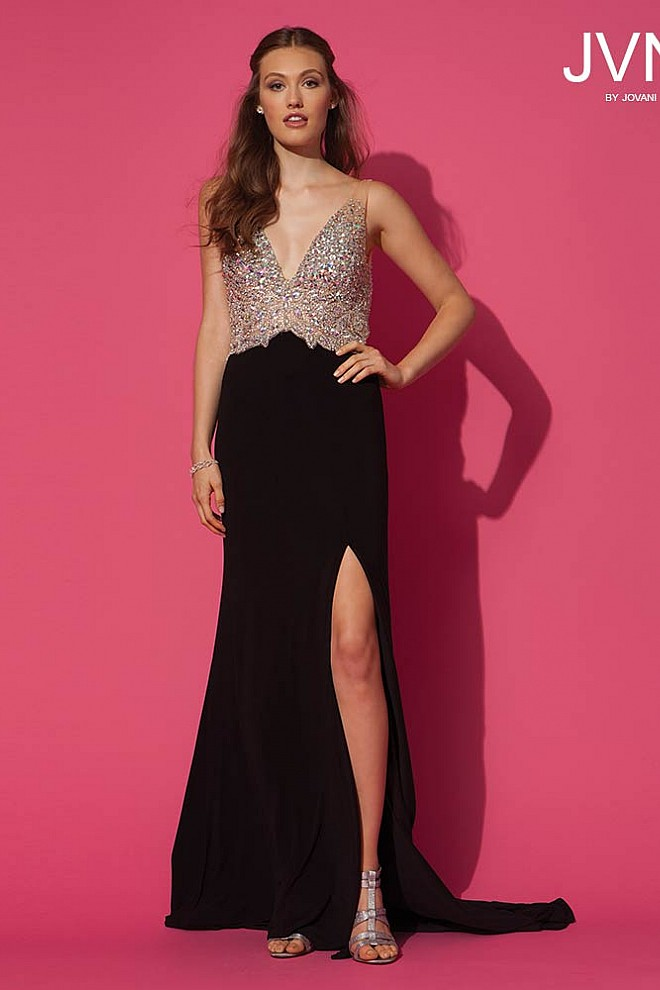 Black Deep V-Neckline Dress JVN86957