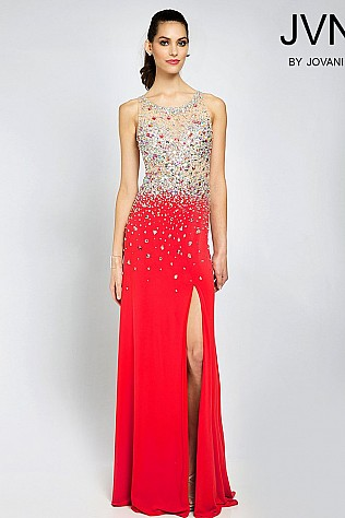 Red Jersey Crystal Embellished Dress JVN90592