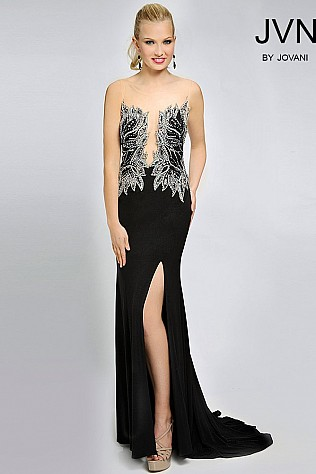 Sleeveless high slit long prom dress JVN94208