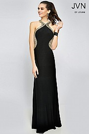Black Sporty Racerback Prom Dress JVN98601
