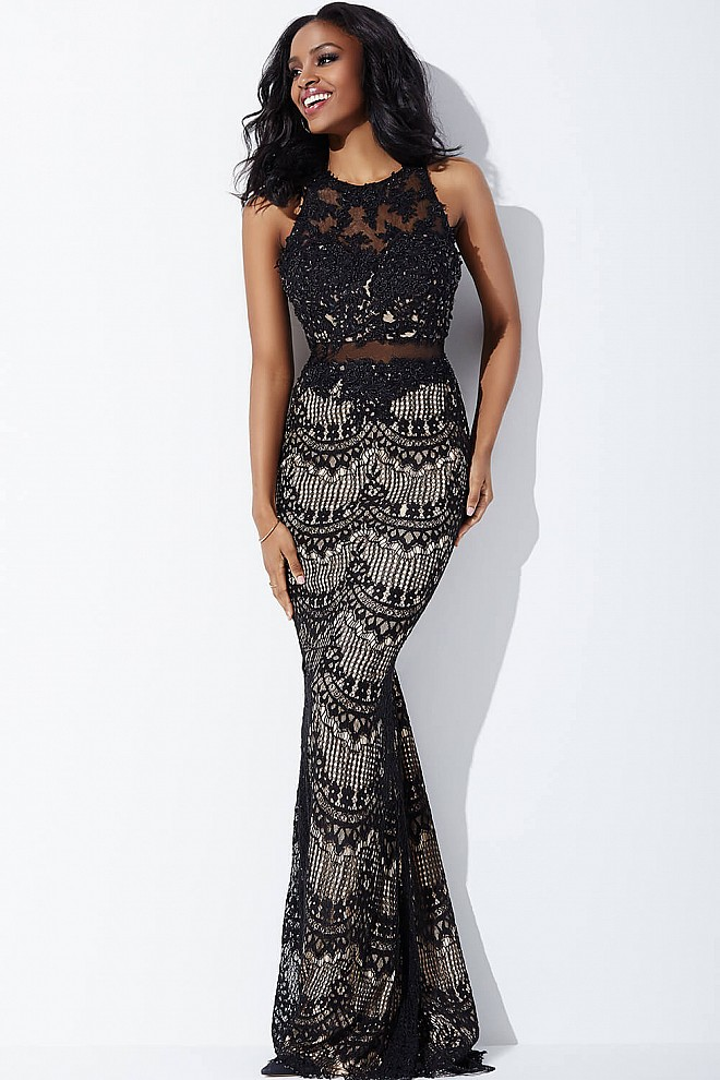 Black Lace Applique Prom Dress JVN36763